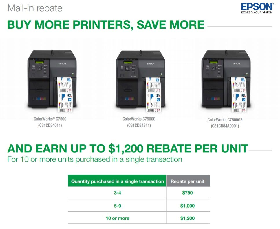 Epson Colorworks C7500 Label Printer Rebate Savings